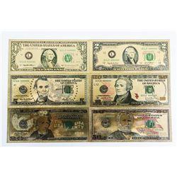 Lot of (6) 24kt Gold Leaf Set - USA Collector  Notes