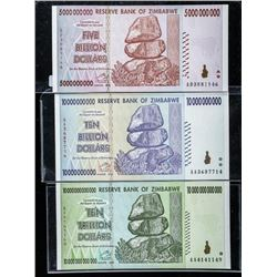 Group of (3) Reserve Bank of Zimbabwe Ten  Trillion, 5 and 10 Billion Dollar Notes. GEM  UNC with Se
