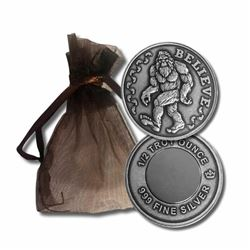 .999 Fine Silver Sasquatch with Rare Earth  Magnet. Fractional.