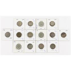 Estate Lot (14) Canada 925 Silver 25 Cent  Coins (1900-1917)