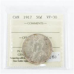 1917 Canada Silver Canada 50 Cent. VF-30.  ICCS (MKR)