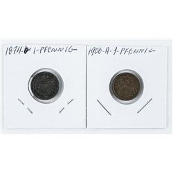 Lot (2) 1 Penny Farthings 1874 and 1900a (AE)