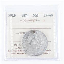 NFLD 1874 Silver 50 Cent EF40 ICC. Scarce