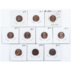 Group of (10) Canada 1 Cent George and Queen  Elizabeth MS63++ Identified