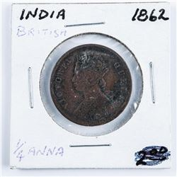 1862 India Great Britain 1/2 Anna