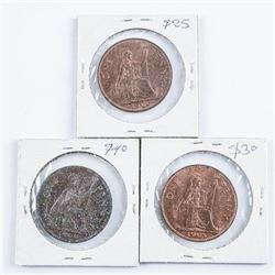 Group of (3) 1963, 1966, 1967, UK 1 Penny