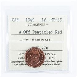 Canada 1949 1 Cent - A Off Denticle Red. ICCS
