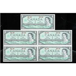 Lot (5) 1867-1967 Bank of Canada 1.00 AU- UNC