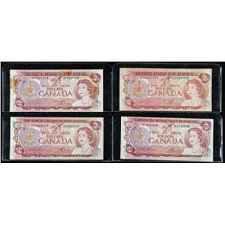 Group of (4) Bank of Canada 1974 2.00