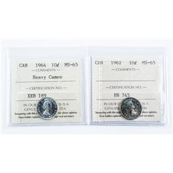 Lot (2) Canada Silver 10 Cent. MS65 - 1962  and 1964 (Cameo) ICCS