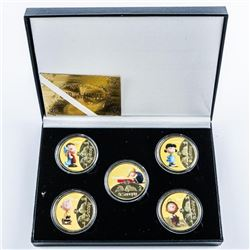 SNOOPY 5 Medallion Collection, Gold Plated  with Colour