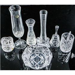 Group (7) Crystal Vases, Ashtray, Bell etc  (SXM)