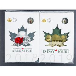 Lot (2) RCM 2018 & 2019 Armistice Special  Issue UNC Coin Folios