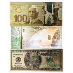 Group of (3) 24kt Gold Leaf Novelty 100.00  Bills, Plus 24kt Gold Bar Embedded in Cash  Gold