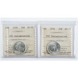 Lot (2) CANADA Silver 25 Cent AU50-55 PVC  Contamination ICCS