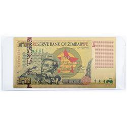 24kt Gold Leaf Reserve Bank of Zimbabwe 1  Bicentillion Dollar Note
