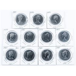 Group of (11) Canada Nickel Dollars 'UNC'  1960s,1970s,1980s
