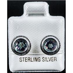 925 Sterling Silver Earrings Mystic Topaz  Studs 1.60ct