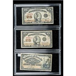 Group of (3) Dominion of Canada 25 Cent  Notes, 1900-1923 3 Signatures Sets, Museum  Cases