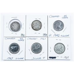 Group of (6) Canada Silver 25 Cents - 1910,  1912, 1942, 1961, 1967, 1968