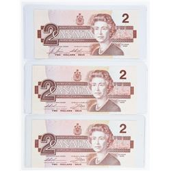 Group of (3) Bank of Canada 1986 2.00 Prefix  (EBX)