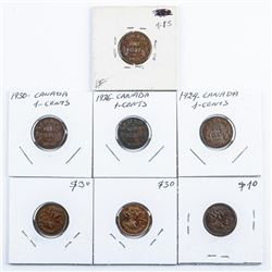 Group of (7) CANADA George 1 cent 1924, 1926,  1926, 1930, 1941, 1943, 1948