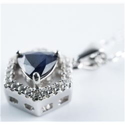 """925 Silver Pendant and Chain 16"""" Triangle  Cut, Natural Blue Sapphire and 25 CZ (.75ct)  Appraised:"""