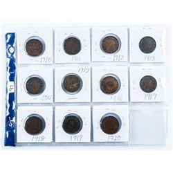 Group of (11) Canada Large Cents, over 100  Years