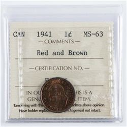 1941 CANADA One Cent MS-63 Red and Brown.  ICCS