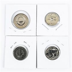 Group of (4) Gold Plated USA and World Coins