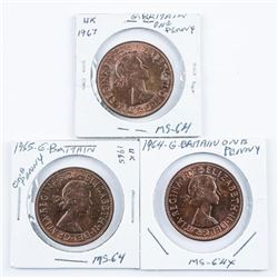 Group of (3) Great Britain One Penny 1964,  1965, 1967 MS64 (SXR)