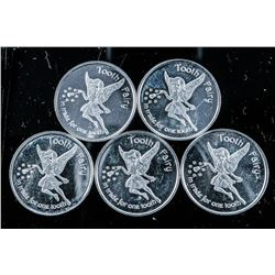 Lot (5) .9999 Fine Silver Tooth Fairy Coins