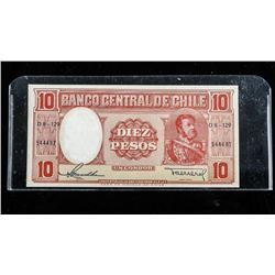 Bank of Chile 1943 Dier Pesos (AU-UNC) SME