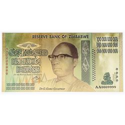 Reserve Bank of Zimbabwe One Hundred  Decillion Dollars