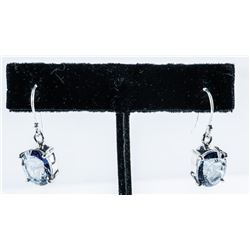 925 Sterling Oval Tanzanite Swarovski  Elements/Earrings, Shepherd Hook Back