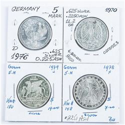 Group of (4) Silver German 5 Mark Coins:  1970, 1978, 1976, 1979