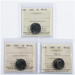 Group of (3) Canada 5 Cents 1956, 1996, 2007.  MS65-MS65 ICCS