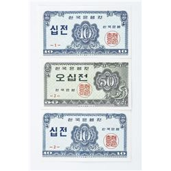 Group of (3) Bank of Korea 1962, Notes 2 x 10  Joen, 1 x 50 Joen GEM UNC