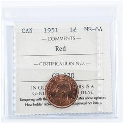 CANADA 1951 1 Cent MS64 Red. ICCS