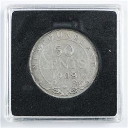 1908 NFLD Silver 50 Cents