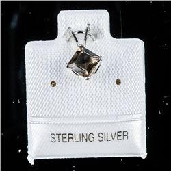 925 Silver Pendant Cushion Cut Smokey Quartz  Pendant