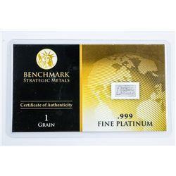Collector Bullion .999 Fine Platinum Bar with  C.O.A.