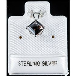 925 Sterling Silver Pendant .60cts smokey  Quartz