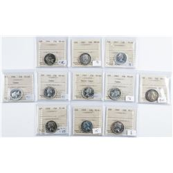 Group of (11) CANADA Silver 25 Cents - All  ICCS Cert