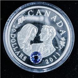 Royal Wedding 2011 .999 Fine Silver $20.00  Coin with Blue Swarovski Elements over 1oz
