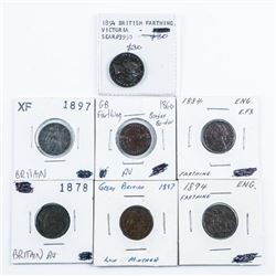 Group of (7) Great Britain Farthing Coins,Mid  to Late 1800s