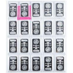 USA Collector Bullion Lot (20) 999+ Fine  Silver Bars , Original Mint Sheet 20 z 1oz =  20oz ASW
