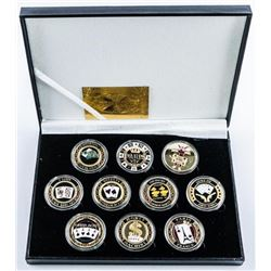 Casino Collection (10) Gold Plated with  Colour Medallions LE/1000