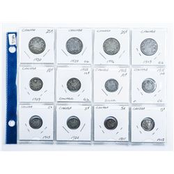 Group of (12) Silver Early Canada Coins
