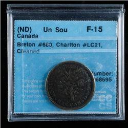 (ND) Canada Token Un Sou Breton #680 CH # LC  21, CCCS